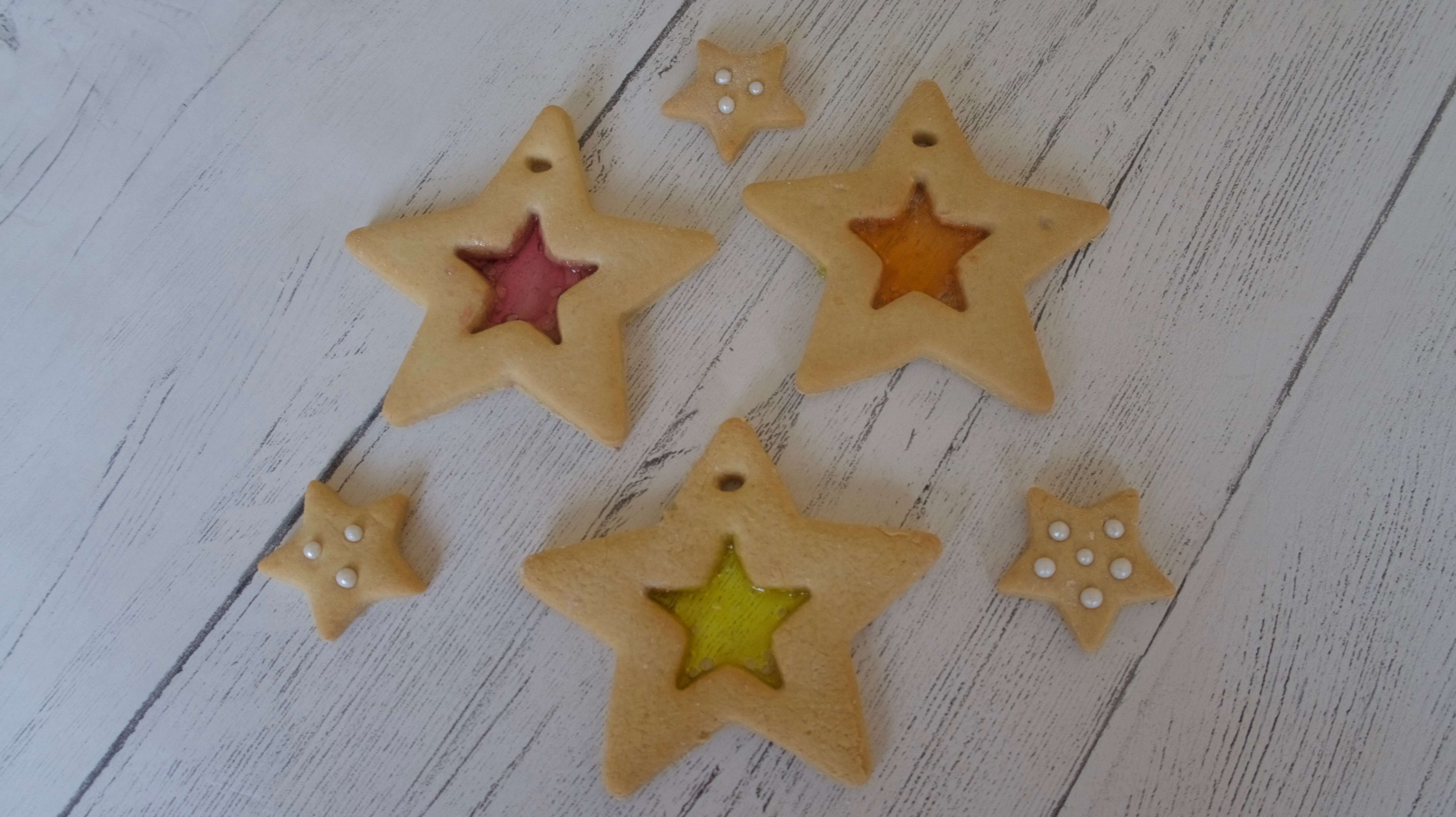 Stained Glass Window Christmas Star Biscuits