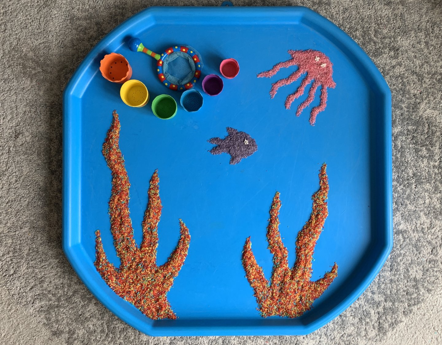 Tiddler by Julia Donaldson EYFS tuff spot activity