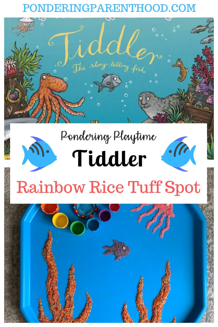 Looking for an EYFS activity linked to Tiddler by Julia Donaldson? Check out this rainbow rice tuff spot.