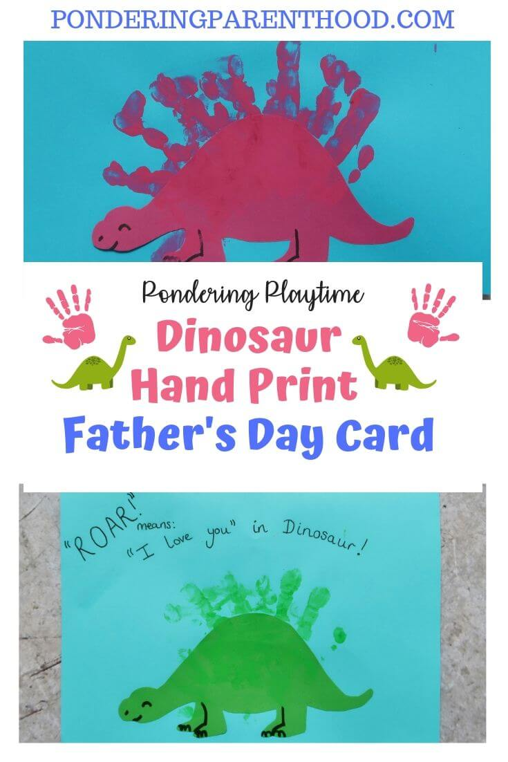 Looking for an easy Father's Day card craft activity? Check out these step-by-step instructions to make a dinosaur handprint card.