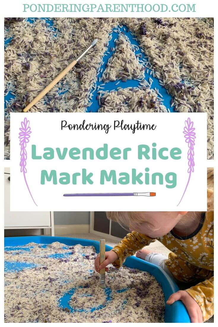 Looking for activities to encourage letter writing and mark making? Try this easy lavender rice mark making activity. #EYFSideas