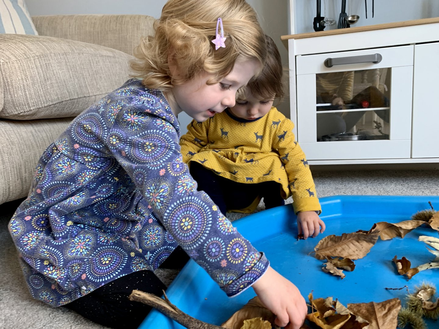 M and B look at Autumn nature items in the tuff spot.